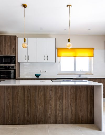 Kitchen with island, laminate and melamine fronts