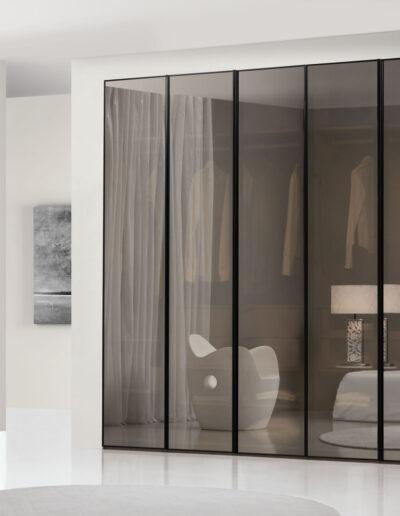 Wardrobes with antelio glass doors.