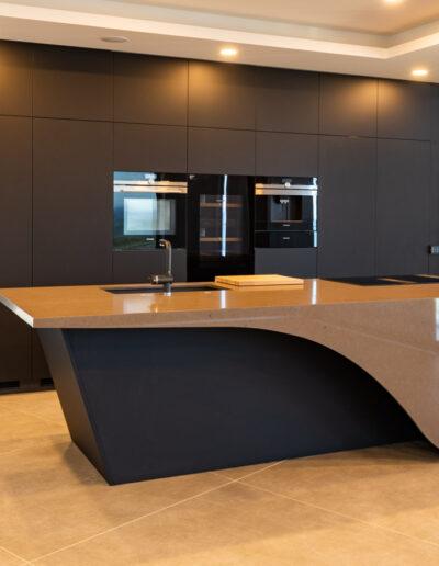 Handleless Modern Black Kitchen in Algarve, with island